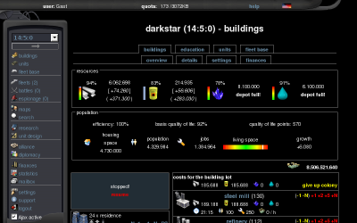 Screenshot of beta.conquer-space.net/Guest/