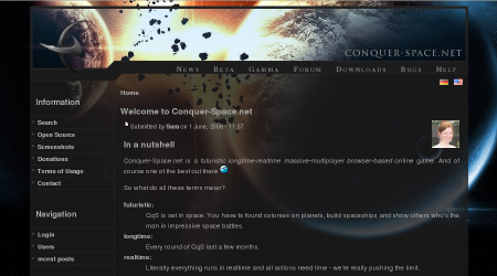 Screenshot of www.conquer-space.net